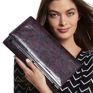 WHBM Amethyst Clutch With Lucite Bar Snake…